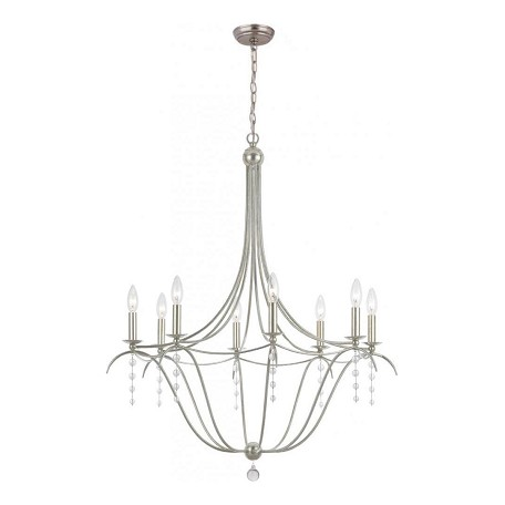 Crystorama Antique Silver / Clear Beads Hot Deal 8 Light Candle Style Chandelier
