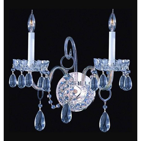 Crystorama Polished Chrome Traditional Crystal 2 Light Wall Sconce