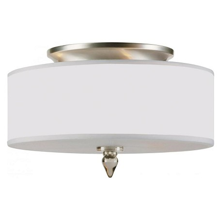 Crystorama Three Light Satin Nickel Drum Shade Flush Mount