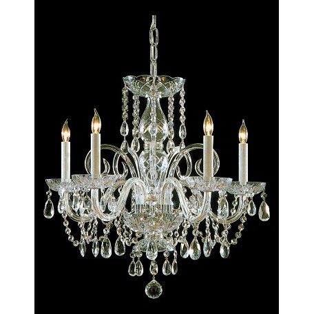 Crystorama Five Light Polished Brass Up Chandelier