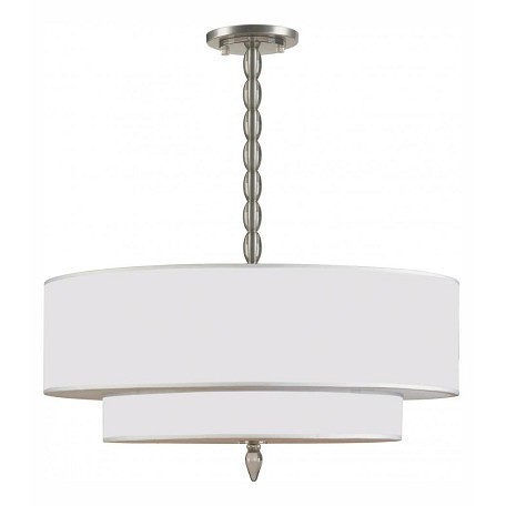 Crystorama Five Light Satin Nickel Drum Shade Chandelier