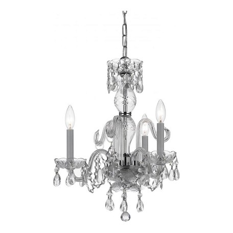 Crystorama Three Light Polished Chrome Up Mini Chandelier