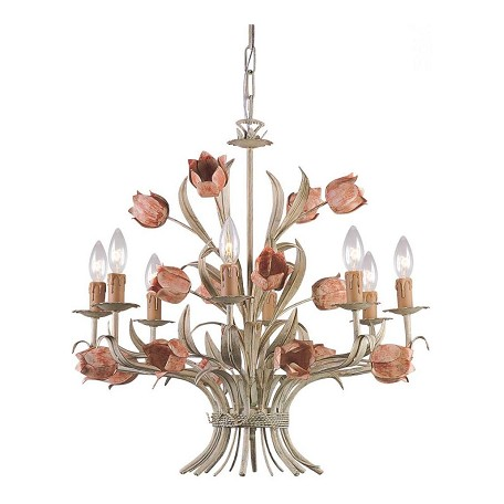 Crystorama Sage / Rose Southport 8 Light 24in. Wide Wrought Iron Candle Style Chandelier