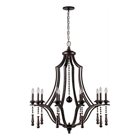 Crystorama English Bronze Parson 10 Light 40in. Wide Steel Candle Style Chandelier