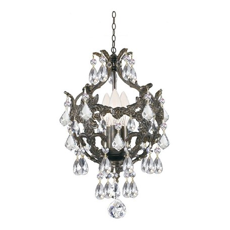 Crystorama Three Light English Bronze Up Mini Chandelier