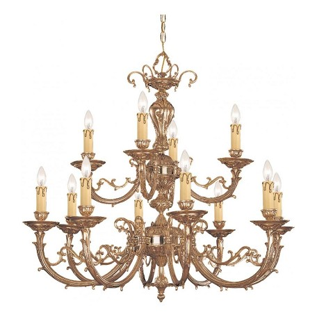 Crystorama Olde Brass Etta 12 Light 32in. Wide 2 Tier Cast Brass Candle Style Chandelier