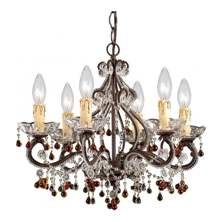 Crystorama Six Light Dark Rust Up Mini Chandelier