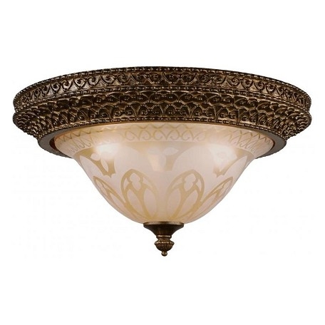Crystorama Three Light Bronze Umber Amber Etched Glass Bowl Flush Mount