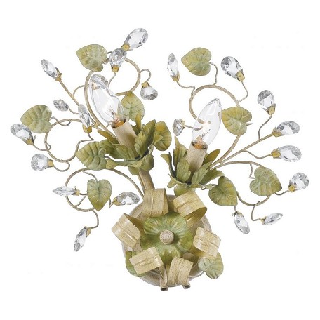 Crystorama Champange Green Tea / Clear Hand Cut Josie 2 Light Floral Wall Sconce