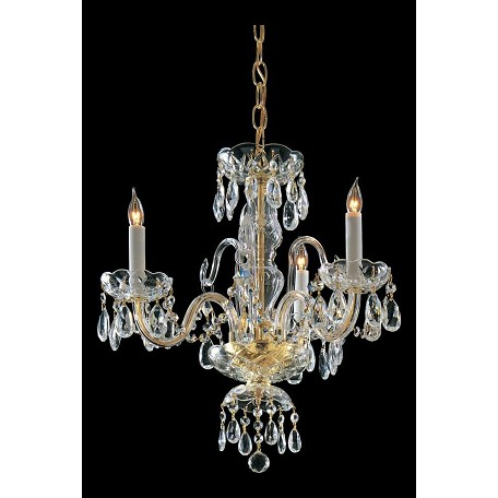 Crystorama Three Light Polished Brass Up Mini Chandelier
