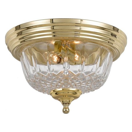 Crystorama Polished Brass Two Light 24 Percent Lead Crystal Flush Mount Ceiling Fixture