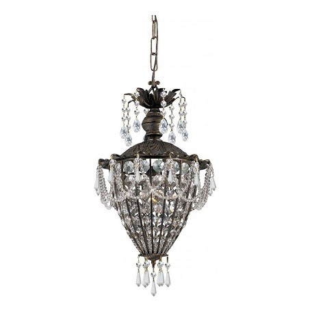 Crystorama English Bronze Crystal Single Light Mini Pendant from the Vanderbilt Collection