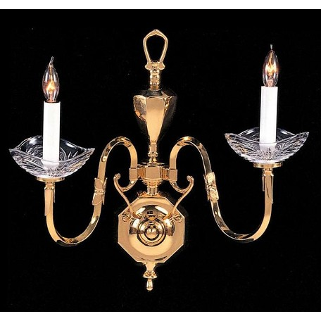 Crystorama Polished Brass Historical Brass 2 Light Candle Style Double Wall Sconce