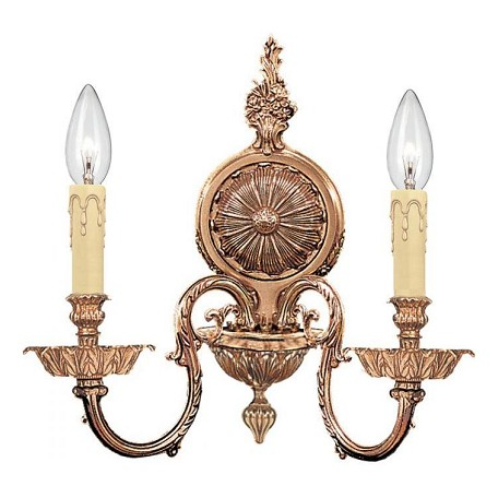 Crystorama Olde Brass Novella 2 Light Candle Style Double Wall Sconce