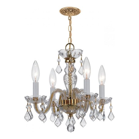 Crystorama Four Light Polished Brass Up Mini Chandelier