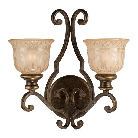 Crystorama Bronze Umber Norwalk 2 Light Double Wall Sconce