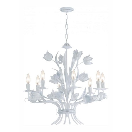 Crystorama Wet White Southport 8 Light 24in. Wide Wrought Iron Candle Style Chandelier