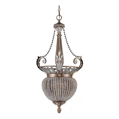 Crystorama Weathered Patina Roosevelt 3 Light Foyer Pendant