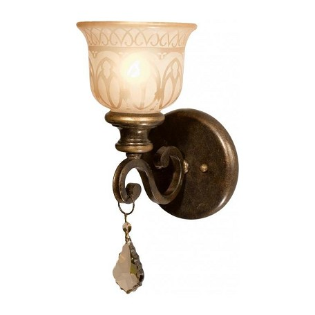 Crystorama One Light Bronze Umber Amber Etched Glass Wall Light