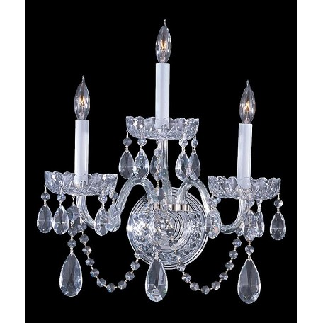 Crystorama Polished Chrome Traditional Crystal 3 Light Wall Sconce
