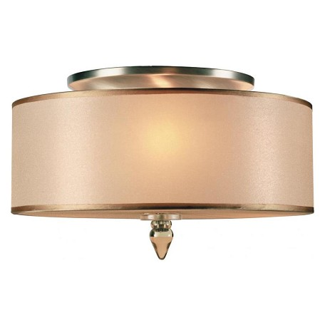 Crystorama Antique Brass Luxo 3 Light Semi-Flush Ceiling Fixture with Silk Shade