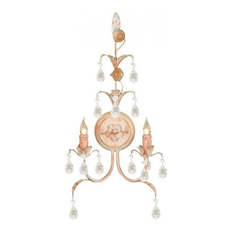 Crystorama Champagne Athena 2 Light Wrought Iron Wall Sconce with Italian Crystals