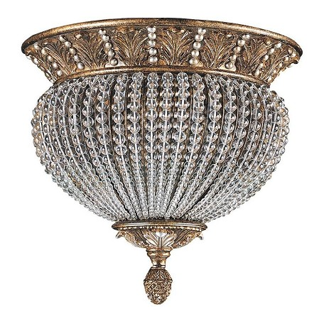 Crystorama Weathered Patina Crystal Two Light Roosevelt Semi Flush Ceiling Fixture