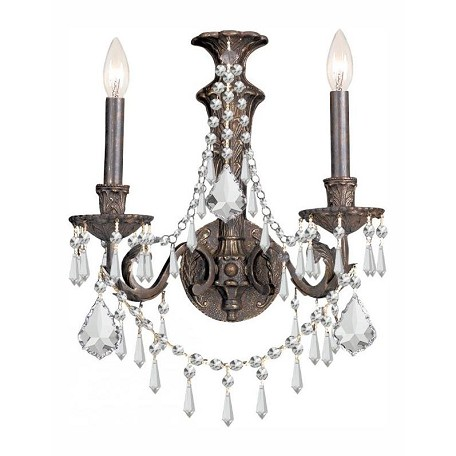 Crystorama English Bronze Vanderbilt 2 Light Double Wall Sconce with Hand-Polished Crystals