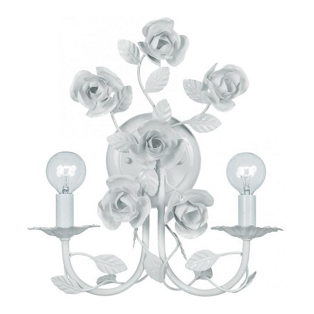 Crystorama Wet White Cypress 2 Light Floral Wrought Iron Wall Sconce
