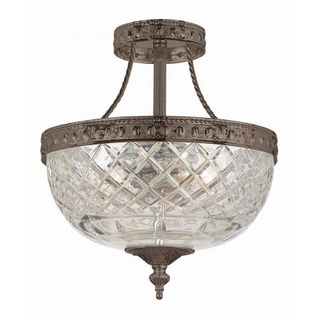 Crystorama English Bronze Richmond 2 Light Semi-Flush Ceiling Fixture