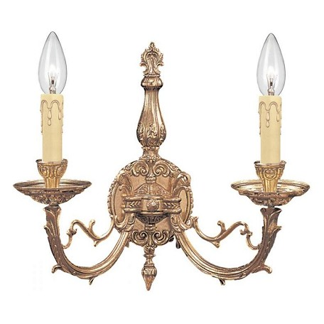 Crystorama Olde Brass Etta 2 Light Candle Style Double Wall Sconce