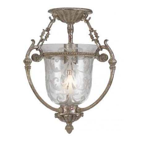 Crystorama One Light Antique Sliver Clear Etched Glass Bowl Semi-Flush Mount