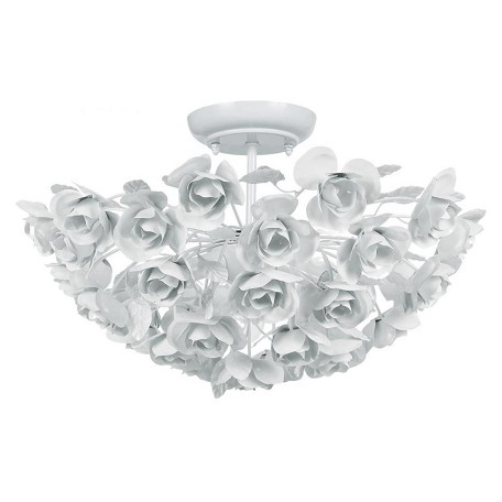 Crystorama Three Light Wet White Bowl Semi-Flush Mount