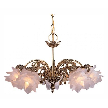Crystorama Five Light Olde Brass Tulip Glass Down Mini Chandelier