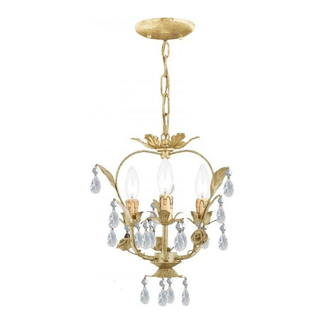 Crystorama Three Light Champagne Up Mini Chandelier