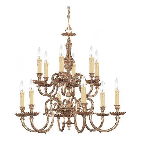 Crystorama Olde Brass Novella 12 Light 26in. Wide 2 Tier Cast Brass Candle Style Chandelier