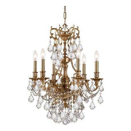 Crystorama Six Light Aged Brass Up Chandelier