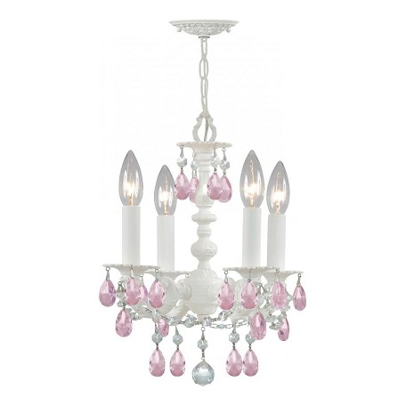 Crystorama Four Light Wet White Up Mini Chandelier