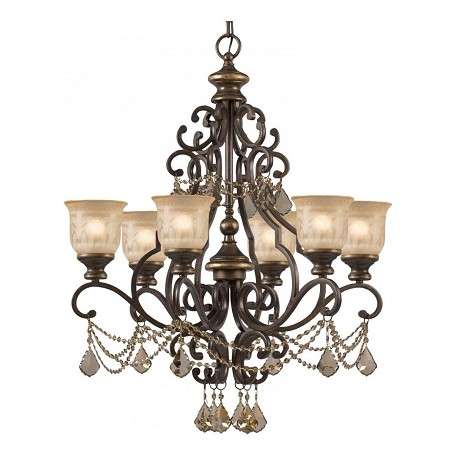 Crystorama Six Light Bronze Umber Amber Etched Glass Up Chandelier