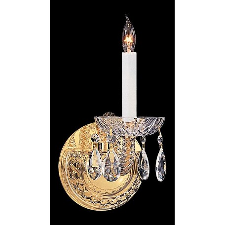 Crystorama One Light Polished Brass Wall Light