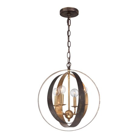 Crystorama English Bronze / Antique Gold Luna 4 Light 16in. Wide Wrought Iron Chandelier