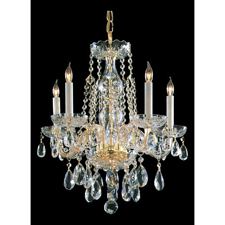 Crystorama Five Light Polished Brass Up Mini Chandelier