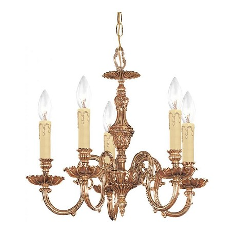Crystorama Olde Brass Novella 5 Light 18in. Wide Cast Brass Candle Style Mini Chandelier