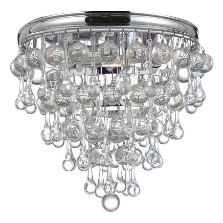 Crystorama Polished Chrome Calypso 3 Light Crystal Flush Mount Ceiling Fixture