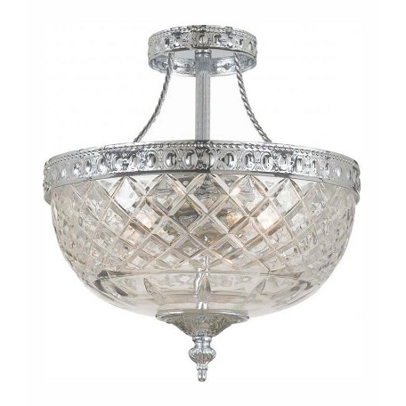 Crystorama Three Light Polished Chrome Bowl Semi-Flush Mount