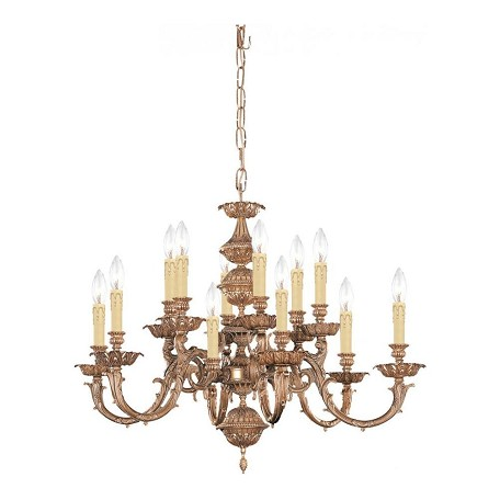 Crystorama Olde Brass Oxford 12 Light 30in. Wide 2 Tier Cast Brass Candle Style Chandelier