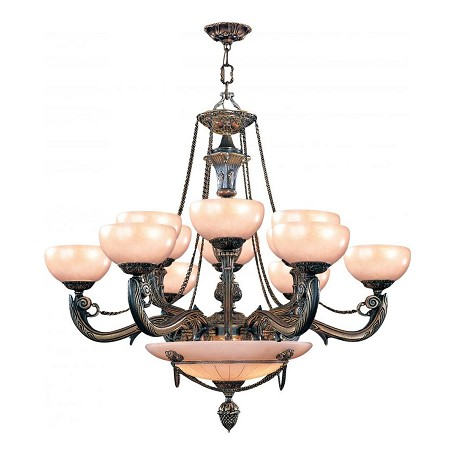 Crystorama Bronze Natural Alabaster 15 Light 40in. Wide 3 Tier Cast Brass Chandelier