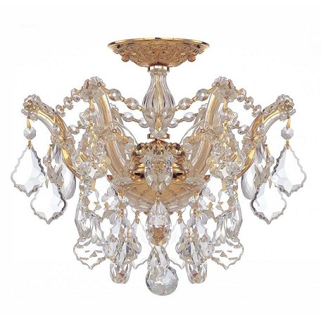 Crystorama Maria Theresa Gold 3 Light Hand Cut Crystal Semi-Flush Ceiling Light