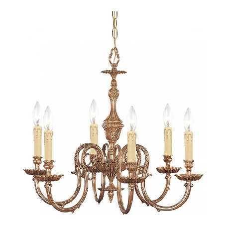 Crystorama Olde Brass Novella 6 Light 25in. Wide Cast Brass Candle Style Chandelier