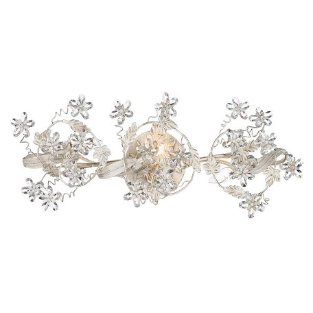 Crystorama Antique White Abbie 3 Light Bath Bar with Flower Crystal Accents